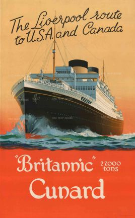 """Turner: Britannic Cunard, The Liverpool Route to U.S.A. and Canada. c.1930. An original vintage chromo-lithograph. 25"""" x 40"""". [POSTERp192]"""