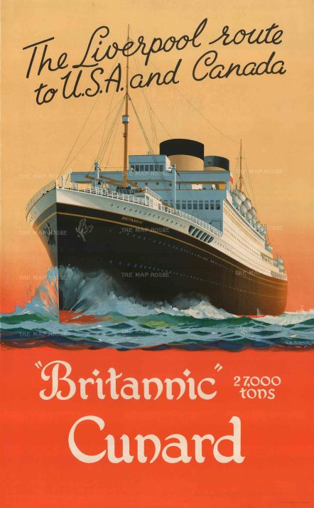 """Turner: Britannic Cunard, The Liverpool Route to U.S.A. and Canada. c.1930. An original vintage chromolithograph. 25"""" x 40"""". [POSTERp192]"""