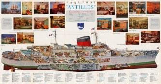 """Lezla: Paquebot """"Antilles"""". 1955. An original vintage chromolithograph. 47"""" x 25"""". [POSTERp198]"""