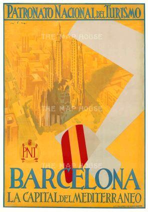 "Patronato Nacional del Turismo: Barcelona, La Capital del Mediterraneo. c.1930. An original vintage chromolithograph. 30"" x 43"". [POSTERp224]"