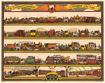 "Cooper: The Londoner's Transport Throughout the Ages. 1928. An original vintage chromo-lithograph. 50"" x 40"". [POSTERp227]"