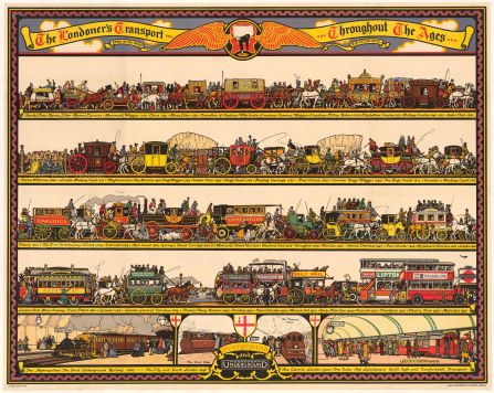 "Cooper: The Londoner's Transport Throughout the Ages. 1928. An original vintage chromolithograph. 50"" x 40"". [POSTERp227]"