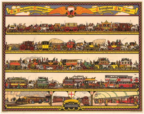 """Cooper: The Londoner's Transport Throughout the Ages. 1928. An original vintage chromolithograph. 50"""" x 40"""". [POSTERp227]"""
