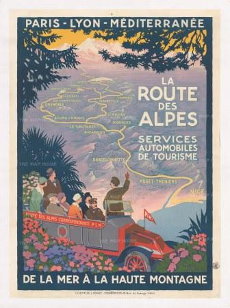 """Broders: La Route des Alpes. c.1922. An original vintage chromolithograph. 24"""" x 39"""". [POSTERp239]"""