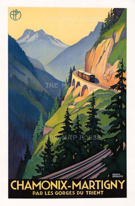 Chamonix-Martigny Par les Gorges du Trient: (Paris-Lyon-Mediterannee Railways) promotional poster for the line through the Trient Gorge.