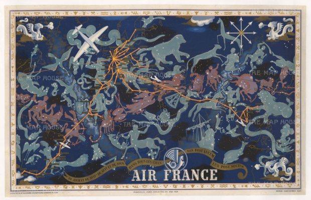 """Boucher: Air France 'De Jour et de Nuit - De Nuit et de Jour - Dans tous les Ciels. 1939. An original vintagechromo-lithograph. 39"""" x 24"""". [WLD4246]"""
