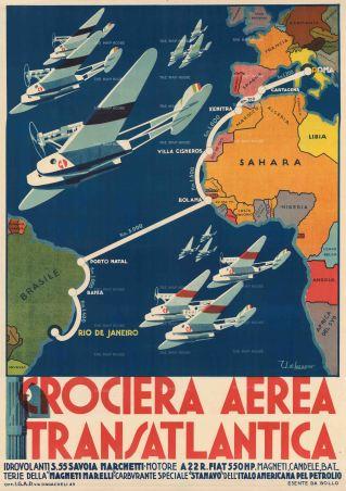 "di Lazzaro: Crociera Aerea Transatlantica. 1931. An original vintage chromo-lithograph. 38"" x 54"". [POSTERp264]"