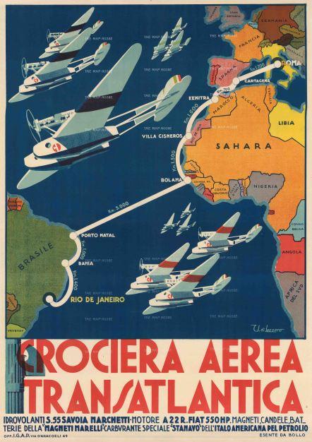"di Lazzaro: Crociera Aerea Transatlantica. 1931. An original vintage chromolithograph. 38"" x 54"". [POSTERp264]"