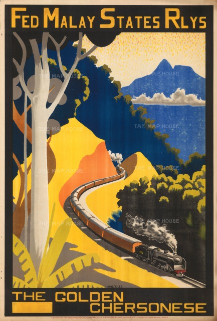 """Federated Malay States Railways: The Golden Chersonese. 1933. An original vintage chromolithograph. 20"""" x 30"""". [POSTERp269]"""