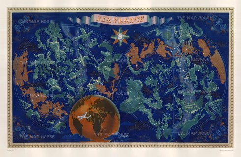 "Boucher: Air France, Celestial Planisphere. 1951. An original vintage chromo-lithograph. 22"" x 14"". [WLD4238]"