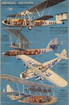 Imperial Airways: The Greatest Air Service in the World. Promotional poster illustrated with cross sections of the most innovative aeroplanes of the time - Scipio Class Flying-Boats, Atlanta Class, Scylla Class, Heracles and Hannibal.