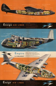"""Imperial Airways: Ensign Air Liner, For Empire Service. c.1935. An original vintage chromo-lithograph. 19"""" x 29"""". [POSTERp273]"""