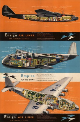 """Imperial Airways: Ensign Air Liner. c.1935. An original vintage chromolithograph. 19"""" x 29"""". [POSTERp273]"""
