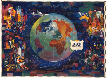 "Uthaug: SAS, The Global Airline. 1955. An original vintage chromo-lithograph. 48"" x 36"". [WLD4247]"