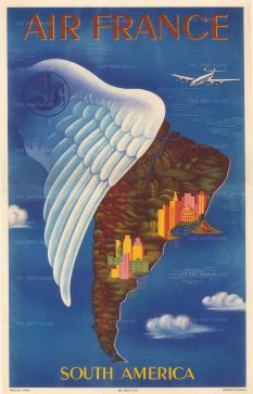 "SOLD. Boucher: Air France, South America. 1939. An original vintage chromo-lithograph 12"" x 19"". [POSTERp279]"