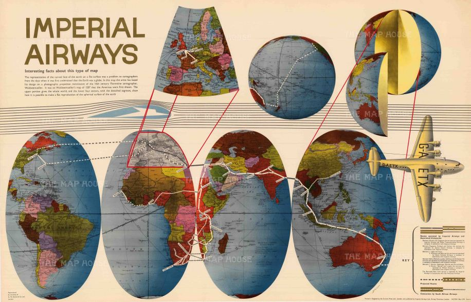 "Imperial Airways: Imperial Airways. 1938. An original vintage chromo-lithograph. 40"" x 26"". [POSTERp282]"