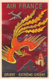 """SOLD. Boucher: Air France, Orient - Extréme Orient. 1949. An original vintage chromo-lithograph. 12"""" x 19"""" [POSTERp285]"""