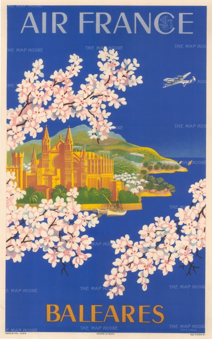 "Boucher: Air France, Baleares. 1949. An original vintage chromo-lithograph. 12"" x 19"". [POSTERp286]"