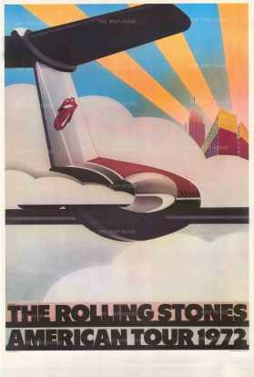 """Pasche: The Rolling Stones American Tour 1972. 1972. An original vintage chromo-lithograph. 26"""" x 40"""". [POSTERp287]"""