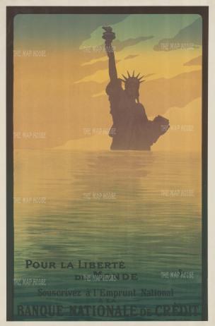 """Goursat: Pour la Liberte du Monde. 1917. An original antique chromolithograph. 32"""" x 49"""". [POSTERp294]"""