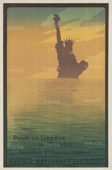 """Goursat: Pour la Liberte du Monde. 1917. An original vintage chromo-lithograph. 32"""" x 49"""". [POSTERp294]"""