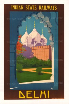 "Indian Press: Indian State Railways, Delhi. c.1930. An original vintage chromolithograph. 25"" x 39"". [POSTERp62]"