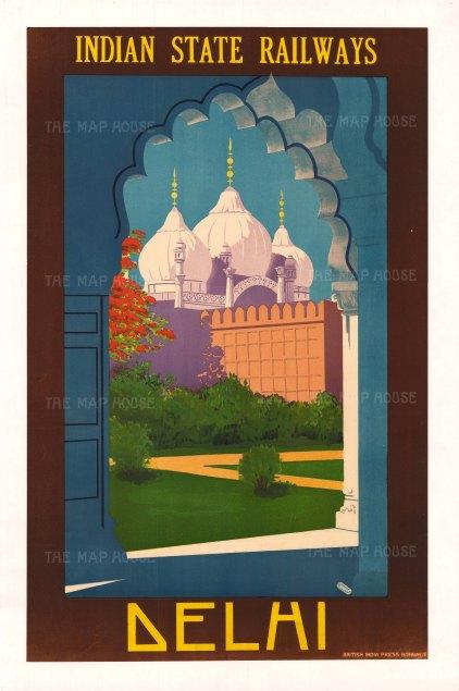 "Indian Press: Indian State Railways, Delhi. c.1930. An original vintage chromo-lithograph. 25"" x 39"". [POSTERp62]"