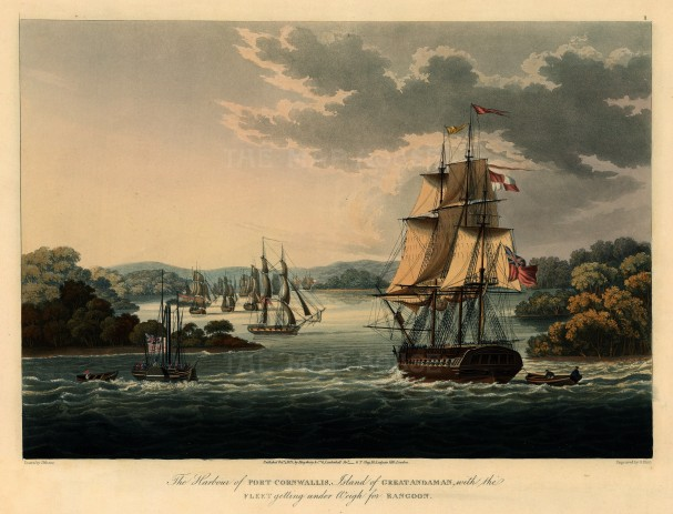 Great Andaman Island: Port Cornwallis. First-Anglo Burmese War. British fleet inluding the steam powered warship HMS Diana, the 50 gun HMS Liffey and the Cruizer class sloop HMS Sophie.