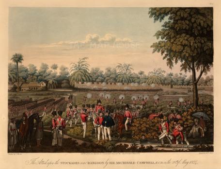 Lt. Joseph Moore: 1st Anglo-Burmese War, Rangoon (Yangon). 1824. An original antique aquatint. 15 x 12 inches [SEASp1439]