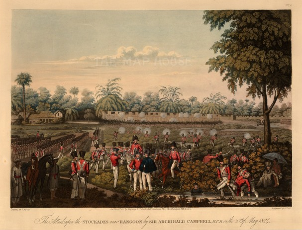 Rangoon (Yangon): First Anglo Burmese War. British Army attacking the stockades with a company observer beneath an umbrella.