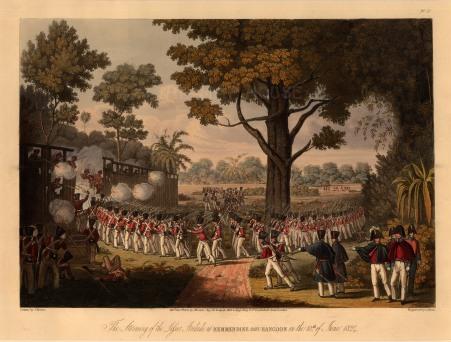 Kemmindine near Rangoon: The British Army storming the lesser stockade.
