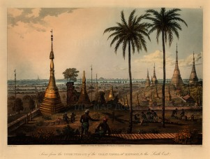 Shwedagon Paya. View from the upper terrace towards the South East with British soldiers felling trees in the foreground.