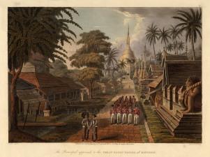 Lt. Joseph Moore: The Great Dagon Pagoda of Rangoon (Yangon). 1824. An original antique aquatint. 15 x 12 inches [SEASp1447]