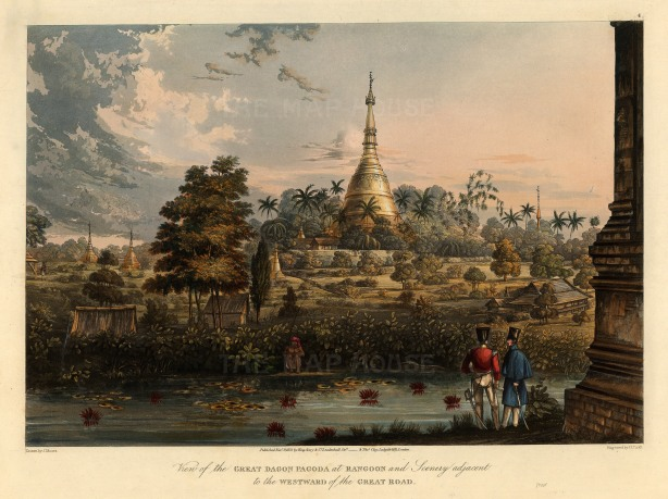 Rangoon (Yangon): Shwedagon Paya and the area westward of the Great Road with a native fishing in the foreground.