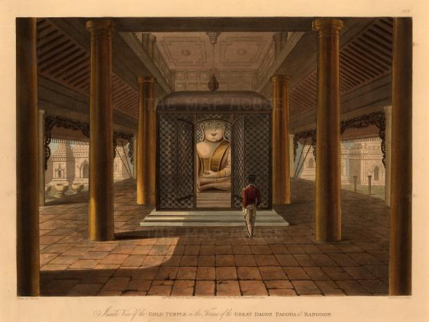 Lt. Joseph Moore: The Gold Temple, Great Dagon Pagoda of Rangoon (Yangon). 1824. An original antique aquatint. 15 x 12 inches [SEASp1451]