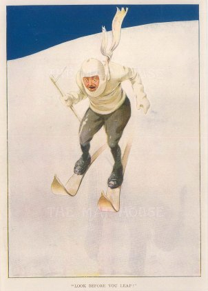 "Anon, 'Look Before you Leap#, c.1930. An original chromo-lithograph. 8"" x 10""."