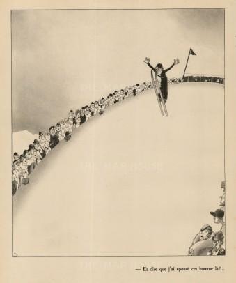 """Paul Samivel, 'Et dire que j'ai épouse cet homme lá!...', 1933. An original black and white lithograph. 10"""" x 12"""". £POA."""