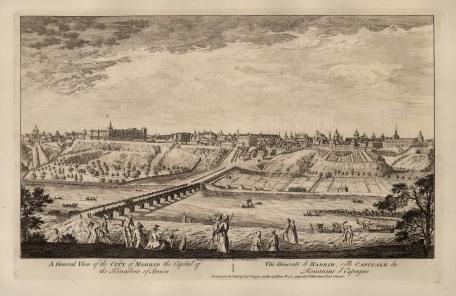 "Robert Sayer, 'General View of Madrid', 1774. An original black & white copper engraving. 12"" x 18"". £POA."