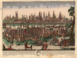 Probst: Istanbul. c.1740. An original hand-coloured antique copper-engraving. 17 x 13 inches. [TKYp1240]