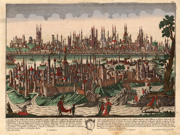 Panorama with key and fine original colour. With considerable detail this view emulates a 17th century tradition that combined cartographic and landscape drawing.