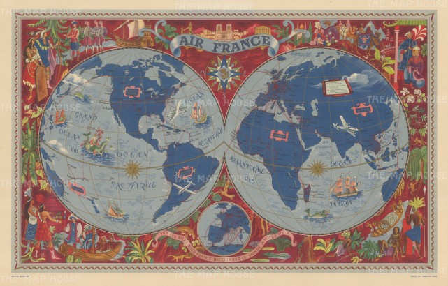 Air France promotional poster: Double hemisphere map of the world highlighting air routes and surrounded with illustrations of European explorers in the Americas, Africa, and Asia. By Lucien Boucher.