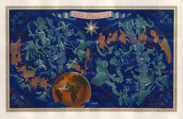 "Boucher: Air France Celestial Planisphere. 1930. An original vintage chromo-lithograph. 38"" x 24"". [WLD4239]"
