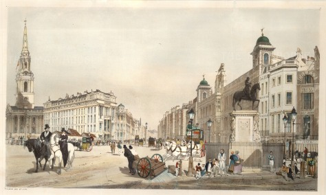 """Entry to the Strand from Charing Cross with the portico of St Martin in the Fields, the opening of the Strand and Northumberland House. Inscribed on the pedestal of Charles I's statue is """"T. S. Boys 1841""""."""