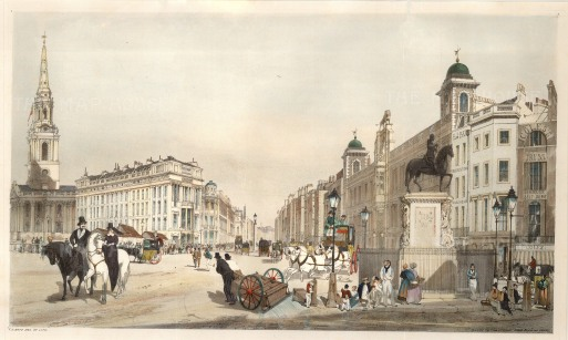 "Entry to the Strand from Charing Cross with the portico of St Martin in the Fields, the opening of the Strand and Northumberland House. Inscribed on the pedestal of Charles I's statue is ""T. S. Boys 1841""."