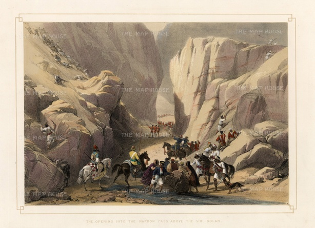 Balochistan: Pass above the Siri Bolan. The Indus Army entering the Hindu Kush mountain range with Baluchi tribesmen firing upon them from overhanging caves.