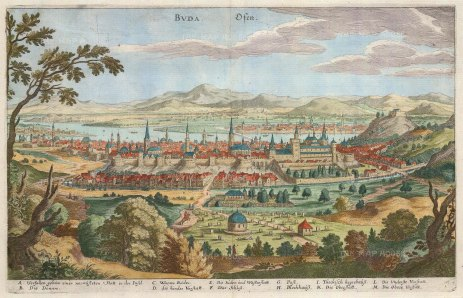 Merian: Budapest, Hungary. c1640. A hand coloured original antique copper engraving. 13″ x 9″. [CEUp415]