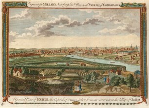 Millar: Paris. 1782. A hand-coloured original antique copper-engraving. 11 x 8 inches. [FRp1212]