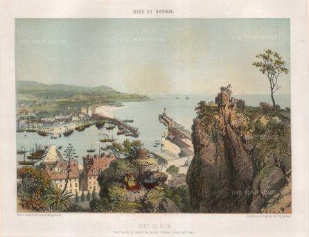 Benoist: Nice. Circa 1850. A hand coloured original antique lithograph. 14 x 11 inches. [FRp1401]