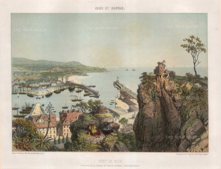 Benoist: Nice. c1850. A hand coloured original antique lithograph. 14″ x 11″. [FRp1401]