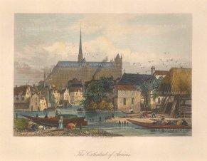 "Bibby: Amiens. c1840. A hand coloured original antique steel engraving. 8"" x 6"". [FRp1422]"